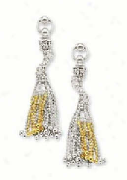 Beaded Two-tone Chandelier Earrings