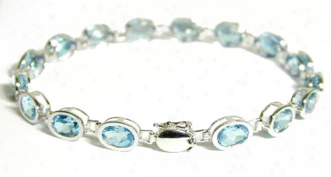 Bezel Blue Topaz Line Bracelet