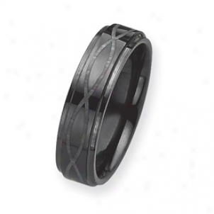 Black Plated 6mm Tungsten Band Ring W/ Grey Laser - Size 6.5