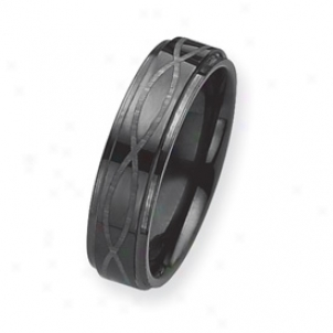 Black Plated 6mm Tungsten Band Ring W/ Grey Laser - Size 8.5