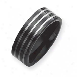 Black Plated 8mm Tungsten Band Rij W/ Grey Laser Size 10.5