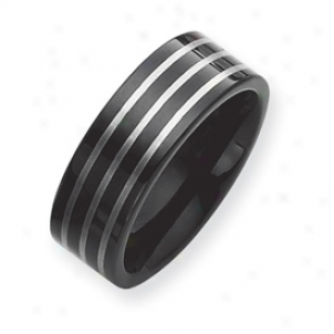 Black Plated 8mm Tungsten Band Clique W/ Grey Laser Size 12.5