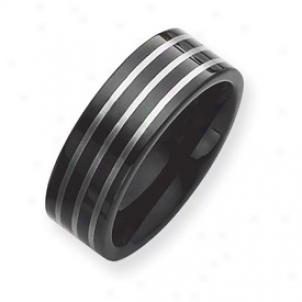 Black Platex 8mm Tungsten Band Circle W/ Grey Lwser - Size 7