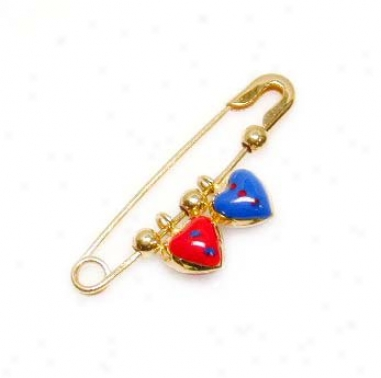 Azure & Red Heart Enamel Baby Pin