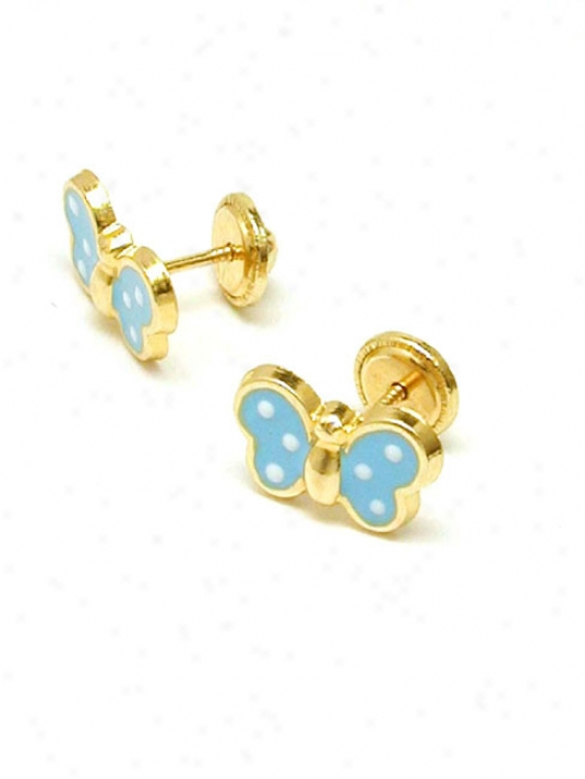Blue Butterfly Enamel Childrens Screwback Earrrings