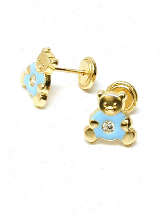 Blue Teddybear Enamel Childrens Screwback Earrrings