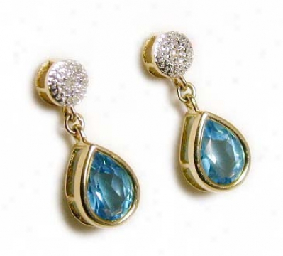 Blue Topaz & Diamond Drop Earrings