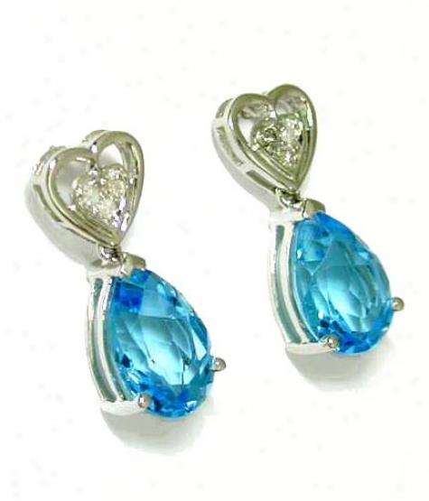 Blue Topaz & Diamond Heart Shaped Drop Earrings