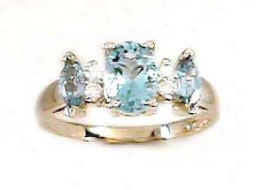 Blue Topaz &amp ;Diamond Ring