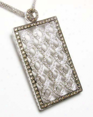 Bold Brown/white Diamond Shield Pendant