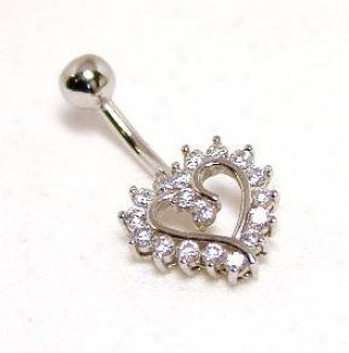 Bold Cubic Zirconia Cz Heart Belly Ring