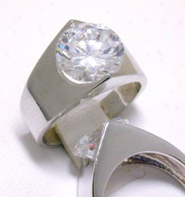 Bold Cubic Zirconia Cz Mirror Band Ring - Size 8.0