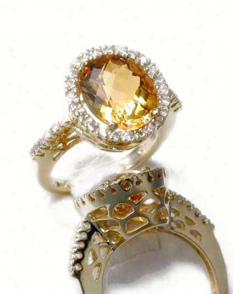 Bold Elegant Citrine & Diamond Ring