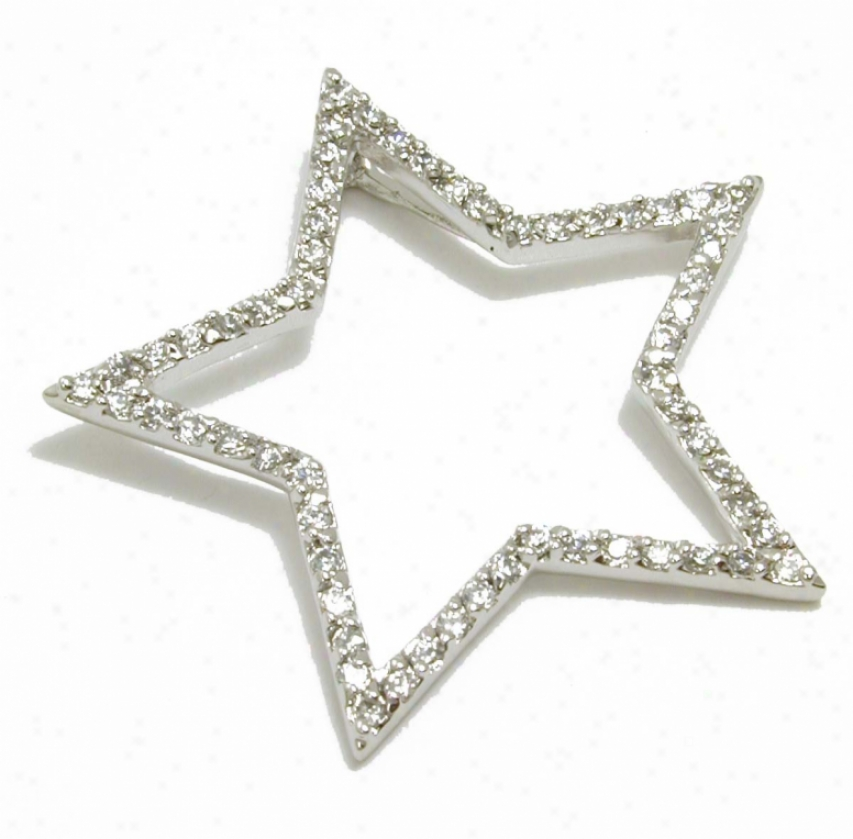 Bold Open Cubic Zirconia Cz Star Pendant