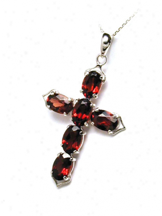 Bold Oval Garnet Cross Pendant (with Chain)