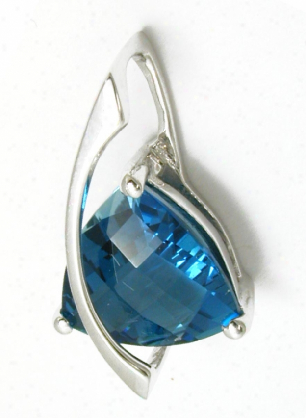 Confident Trilliant London Blue Topaz Slide Pendant