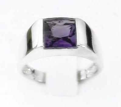 Buff Emerald-cut Amethyst Ring