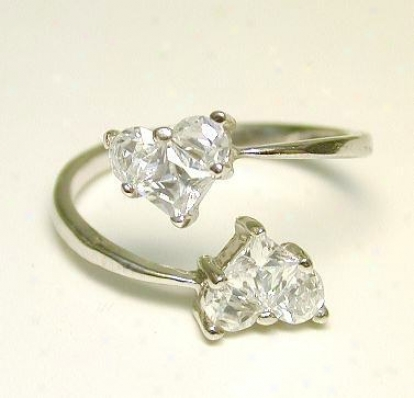Bypass Invisible Cubic Zirconia Cz Heart Toe Sound