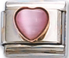 Cats-eye Pink Heart Italian Charm Link