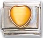 Cats-eye Yellow Heart Italian Charm Link