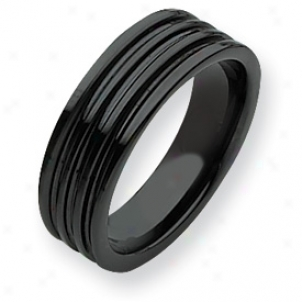 Ceramic Black Grooved 7mm Polished Band Ring - Size 12.5