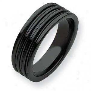 Cerajic Bkack Grooved 7mm Polished Band Ring - Size 6.5