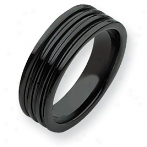 Ceramic Black G5ooved 7mm Polished Band Ring - Size 8