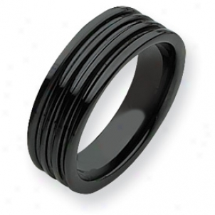 Ceramic Black Grooved 7mm Refined Band Ring - Size 8.5