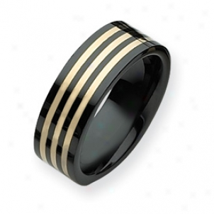 Ceramic Black With 14k Inlay 8mm Polished Band Ring Size 10