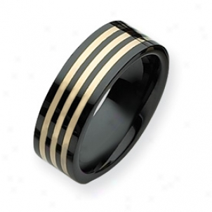 Ceramiv Black With 14k Inlay 8mm Polished Band - Size 10.5