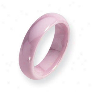 Ceramic Pink 5.5mm Polished Band Ring - Size 8