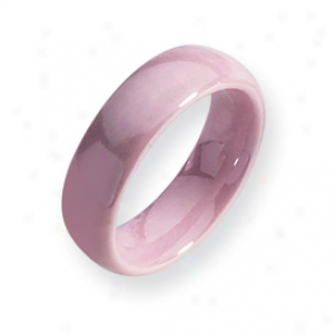 Ceramic Pink 6mm Polished Band Ring - Size 5.5