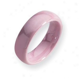 Ceramic Pink 6mm Polished Bajd Ring - Size 7