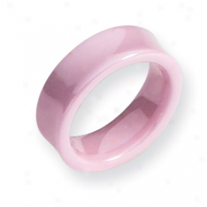 Ceramic Pink Hollow 7mm Polihed Band Ring - Size 8