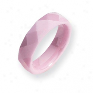 Ceramic Pink Faceted 5.5mm Polished Band Ring - Size 5