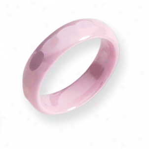 Ceramic Pink Faceted 5.5mm Polished Band Ring - Size 6