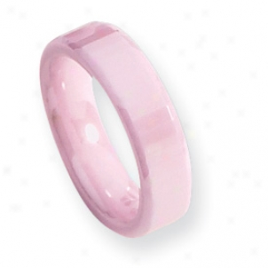 Ceramic Pink Faceted 5.5mm Polished Band Ring - Size 6.5