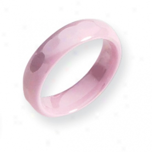 Ceramic Pink Faceted 5.5mm Polished Band Ring - Size 7