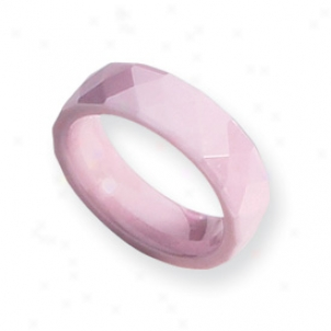 Ceramic Pink Faceted 6mm Polished Band Race-course - Size 5