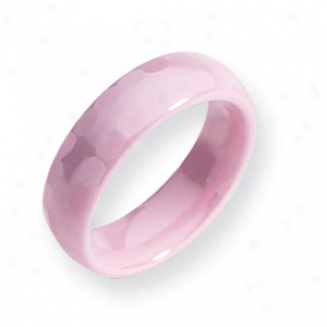 Ceramic Pini Faceted 6mm Polished Band Ring - Size 6.5