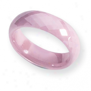Ceramic Pink Faceted 6mm Burnished Band Ring - Size 7