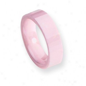 Ceramic Pink Faceted 6mm Polished Band Ring - Size 8