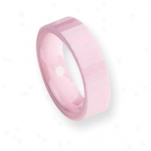 Ceramic Pink Faceted 6mm Polished Band Ring - Size 9