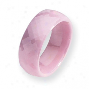 Ceramic Pink Faceted 7.5mm Pokished Band Ring - Size 6.5