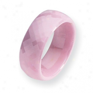 Ceramic Pink Faceted 7.5mm Polished Band Ring - Size 7