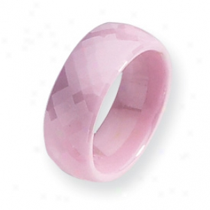 Ceramic Pink Faceted 7.mm Polished Band Ring - Size 9