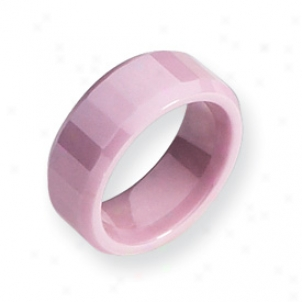 Ceramic Pink Faceted 8mm Polished Band Ring - Size 5