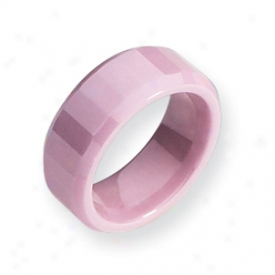 Ceramic Pink Faceted 8mm Polished Band Ring - Size 7.5
