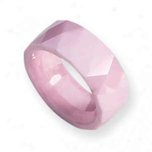 Ceramic Pink Faceted 8mm Classic Band Ring - Size 8