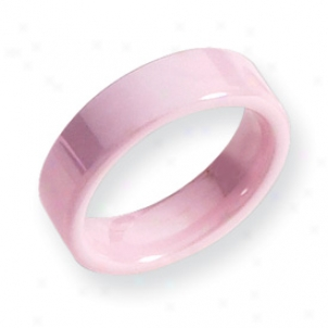 Ceramic Pink Flat 6mm Polished Band Ring - Size 7